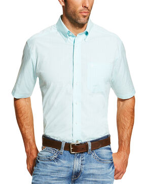 Ariat Men's Light Blue Finny Short Sleeve Shirt - Big and Tall, Light Blue, hi-res