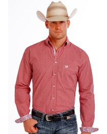 Panhandle Slim Men's Red Democracy Vintage Dobby Long Sleeve Shirt , , hi-res