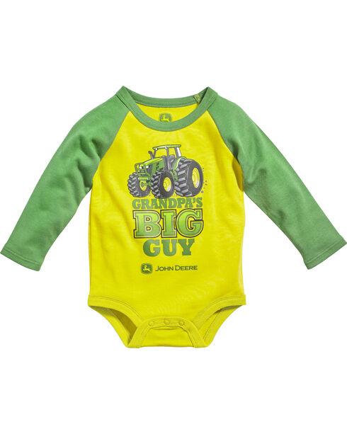 John Deere Infant Boy's Grandpa's Big Guy Raglan Onesie, Yellow, hi-res