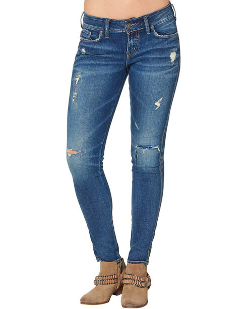 "Silver Women's Suki Mid Skinny Jeans - 31"" Inseam, Blue, hi-res"