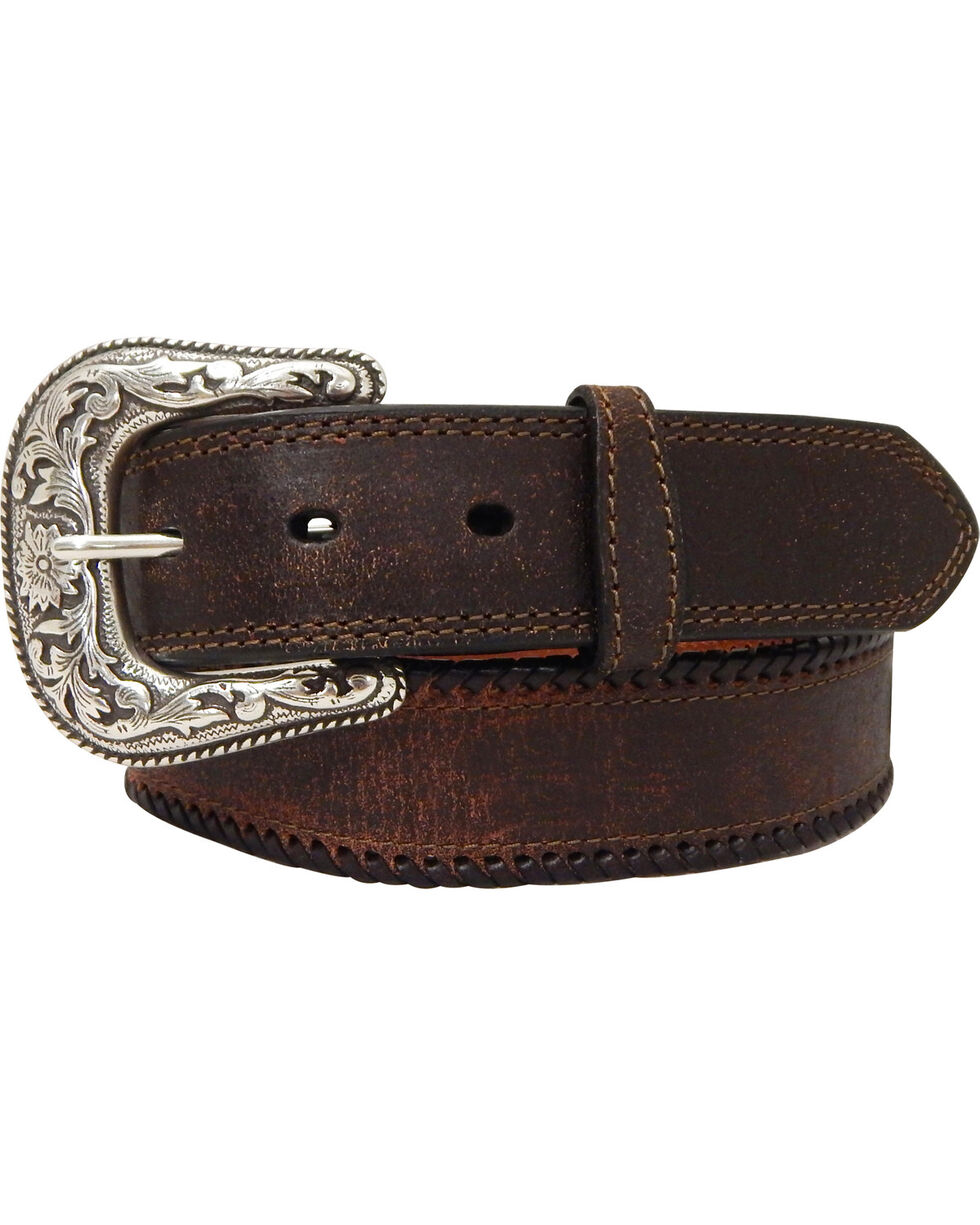 G Bar D Men's Brown Brown Leather Belt, Brown, hi-res