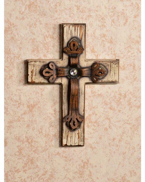 HiEnd Accents Distressed Wood and Bling Cross, Multi, hi-res