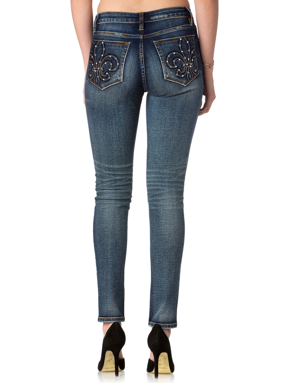 Miss Me Women's Fresh Fleur Slim Boot Cut Jeans , Indigo, hi-res
