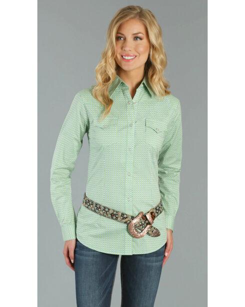 Wrangler Women's Western Printed Long Sleeve Shirt, Turquoise, hi-res