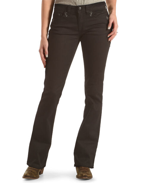 Shyanne Women's Mid-Rise Jeans with Flap Pocket - Boot Cut, Black, hi-res