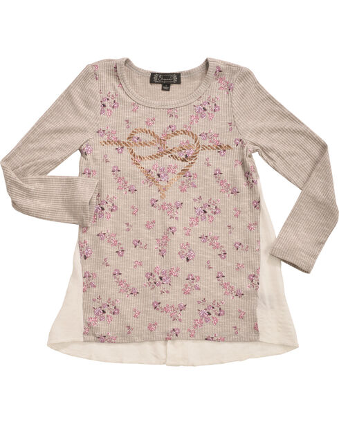 Shyanne Girls' Rope Heart Long Sleeve Shirt    , Ivory, hi-res