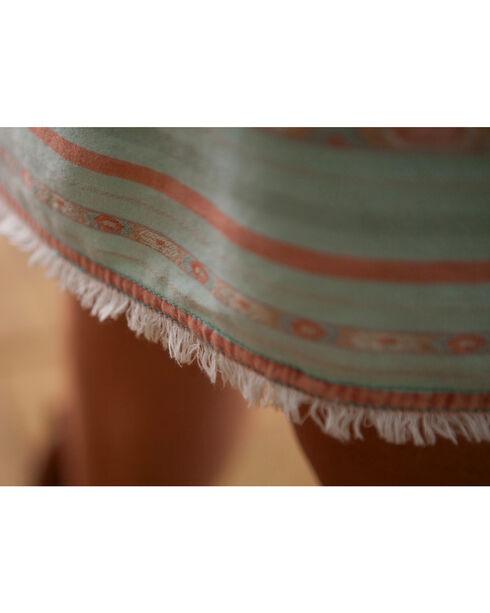 Ryan Michael Women's Aqua Navajo Blanket Skirt , Aqua, hi-res
