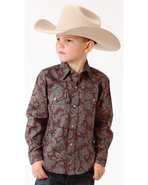 Roper Boys' Mountain Lodge Paisley Print Long Sleeve Snap Shirt, Wine, hi-res