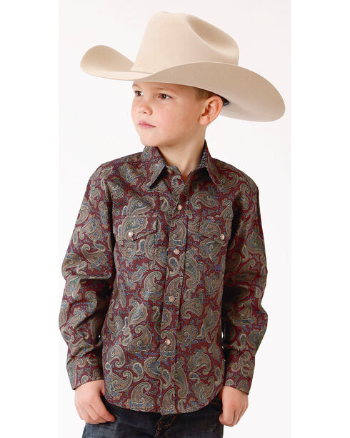 Roper Boys' Mountain Lodge Paisley Print Long Sleeve Snap Shirt, Wine, hi-res