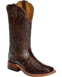 Boulet Chocolate Hand Tooled Caiman Cowgirl Boots - Square Toe, , hi-res