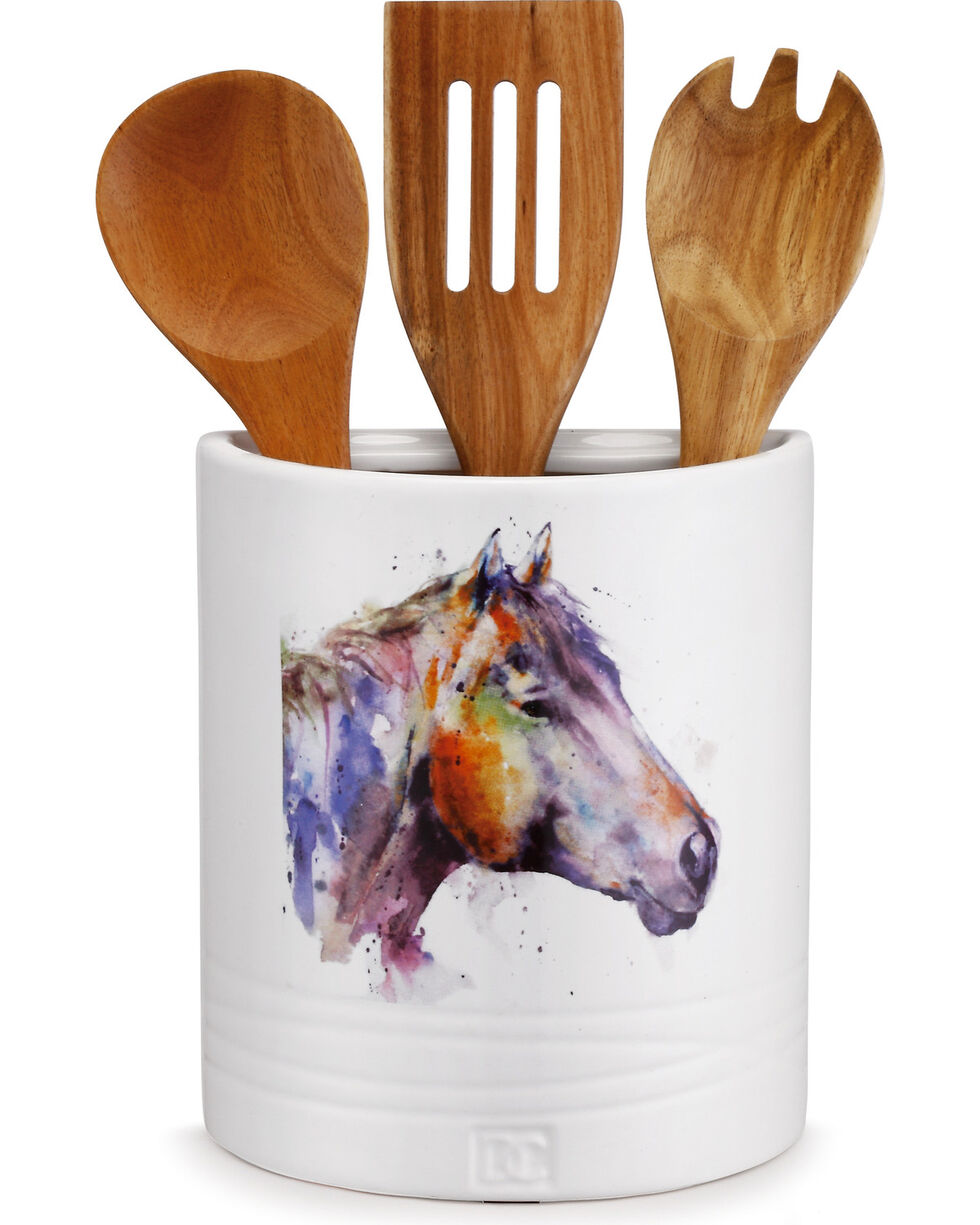 Big Sky Carvers Horse Utensil Holder, White, hi-res