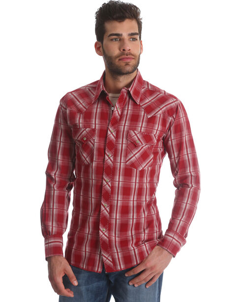 Wrangler Men's Red Plaid Long Sleeve Fashion Snap Shirt, Red, hi-res