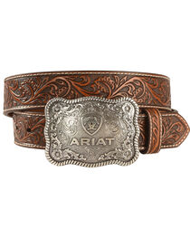"Ariat 1 1/2"" Emobssed Plate Belt, , hi-res"