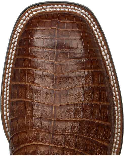 Lucchese Cigar Brown Sean Belly Caiman Cowboy Boots - Square Toe , Brown, hi-res