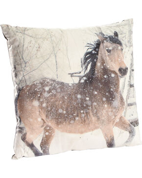 BB Ranch Horse Print Decorative Velvet Pillow, No Color, hi-res