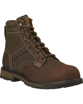 "Ariat Men's 6"" Groundbreaker Waterproof Steel Toe Work Boots, Dark Brown, hi-res"