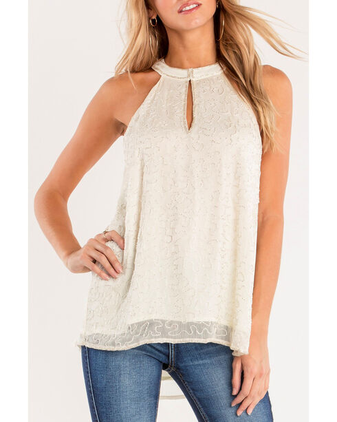 Miss Me Women's Keyhole Embroidered Sleeveless Blouse, White, hi-res