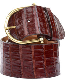 Lucchese Women's Chocolate Ultra Belly Caiman Belt , , hi-res