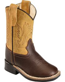 Old West Toddler Boys' Yellow Cowboy Boots - Square Toe, , hi-res