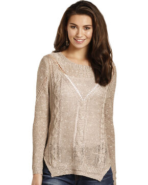 Rock & Roll Cowgirl Women's Beige Sequin Knit Sweater , Beige/khaki, hi-res