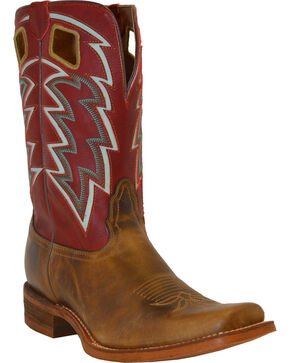 "Nocona Men's 11"" Vintage Embroidered Square Toe Western Boots, Tan, hi-res"