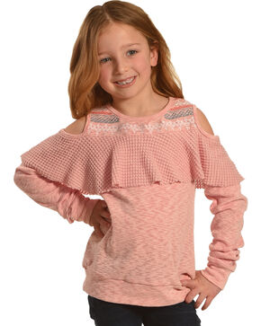 Miss Me Girls' Tier To Stay Cold Shoulder Top , Pink, hi-res