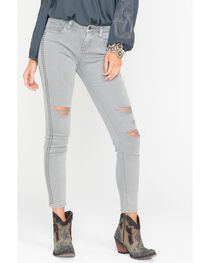 Miss Me Women's Grey Studded Distressed Jeans - Skinny , , hi-res