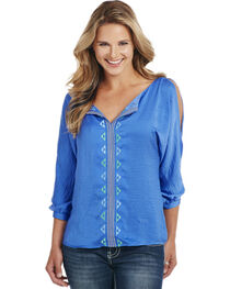Cowgirl Up Women's Blue 3/4 Sleeve Cut-Out Shoulder Blouse, , hi-res