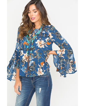 Miss Me Women's Navy Floral Print Peasant Top , Navy, hi-res