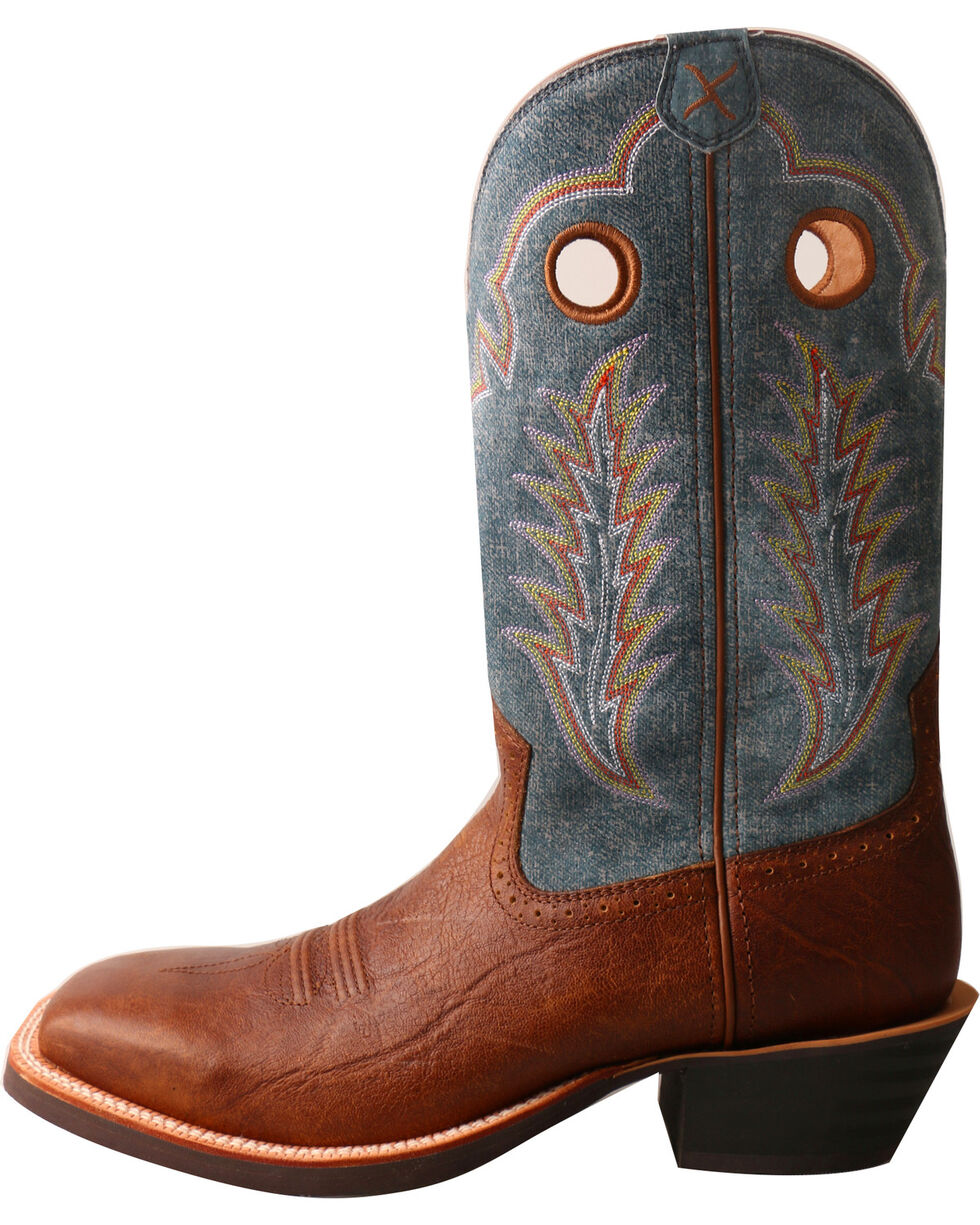 Twisted X Men's Ruff Stock Denim Cowboy Boots - Square Toe, Brown, hi-res