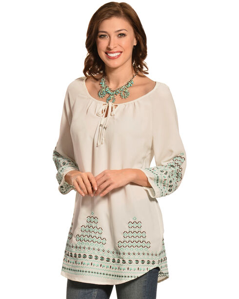 Pink Cattlelac Embroidered Tunic Top , Aqua, hi-res