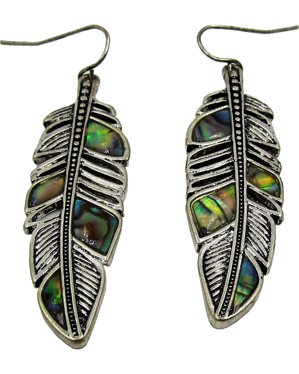 Silver Jeans Women's Genuine Abalone Feather Earrings, Silver, hi-res