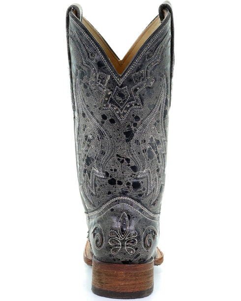 Corral Women's Square Toe Black Snake Inlay Exotic Boots, Black, hi-res