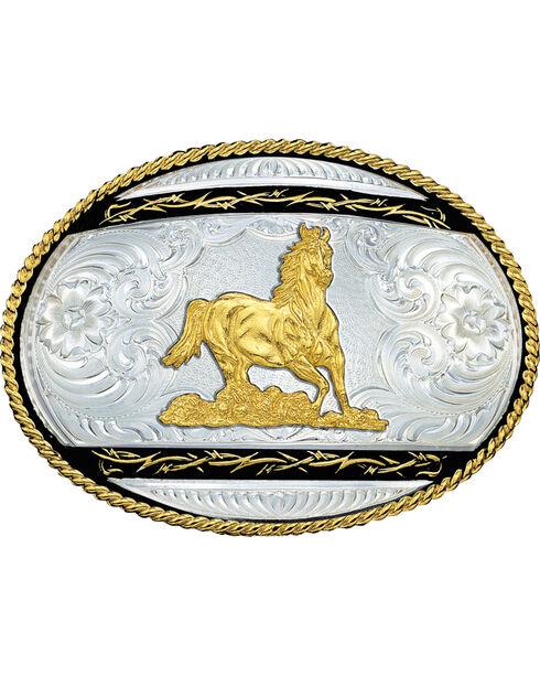 Montana Silversmiths Galloping Horse Western Belt Buckle, Multi, hi-res