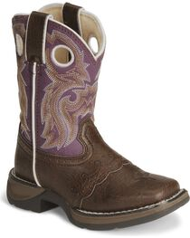 Durango Girls' Brown Lil Flirt Cowgirl Boot - Square Toe, Brown, hi-res