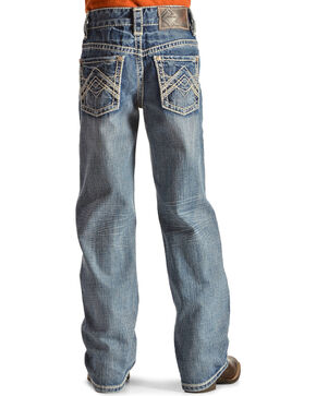 Rock & Roll Cowboy Boys' Embroidered Boot Cut Jeans, Denim, hi-res