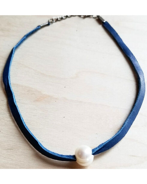 Jewelry Junkie Women's Blue Freshwater Pearl Leather Choker , Blue, hi-res