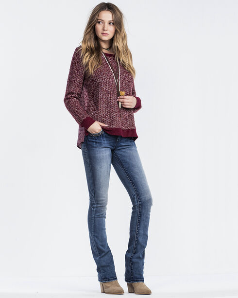 Miss Me Women's Twist Pull Over Sweater, Burgundy, hi-res