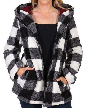Shyanne Women's Snap Front Lines Fleece Buffalo Hoodie , Blue/white, hi-res