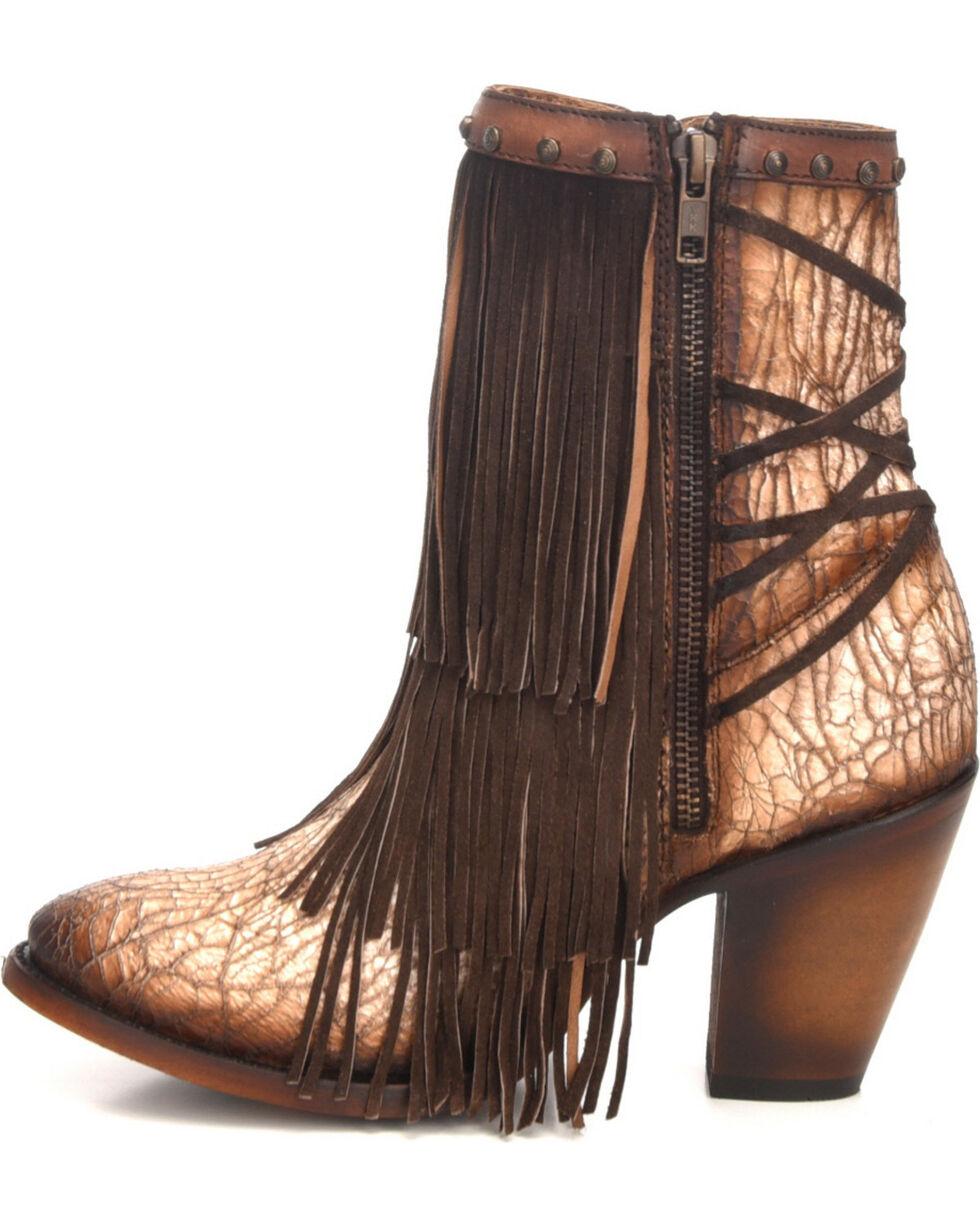 Corral Women's Sanded Tobacco Fringe & Stud Ankle Boots - Round Toe, Sand, hi-res