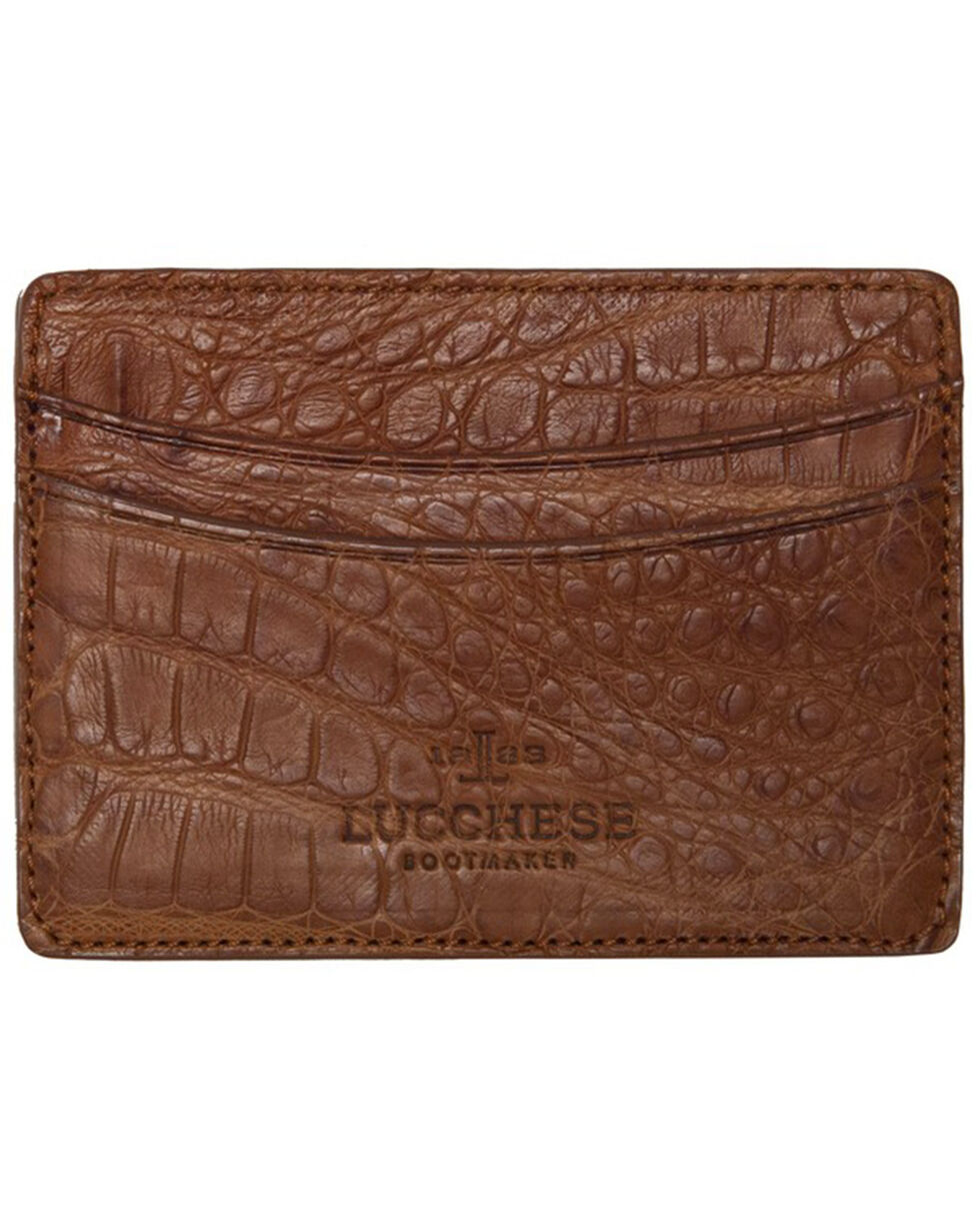 Lucchese Men's Cognac Crocodile Credit Card Case, Cognac, hi-res