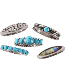 Shyanne Women's Mother of Pearl Turquoise Ring Set - Size 7, , hi-res