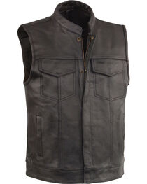 Milwaukee Leather Men's Black Open Neck Club Style Vest - Big 3X, Black, hi-res