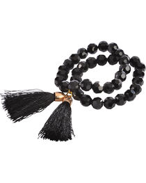 Jewelry Junkie Black Faceted Glass Bead Double Strand Bracelet, , hi-res