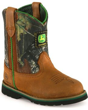John Deere Infant's Johnny Popper Pull-On Western Boots, Brown, hi-res