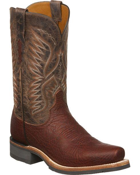Lucchese Men's Handmade Cooper Cognac Bull Shoulder Western Boots - Square Toe, Cognac, hi-res
