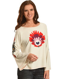 Angel Premium Women's Frida Long Sleeve Embroidered Top, , hi-res