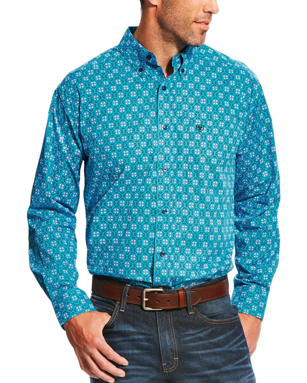 Ariat Men's Aqua Laketon Print Long Sleeve Shirt , Aqua, hi-res