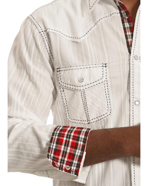 Crazy Cowboy Men's White with Blue Stitch Snap Shirt, White, hi-res
