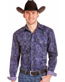 Rough Stock By Panhandle Men's Purple Paisley Western Shirt , , hi-res